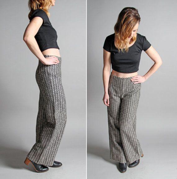 Vintage Wide Leg Chevron Pants  Slacks Black by GirlLeastLikely
