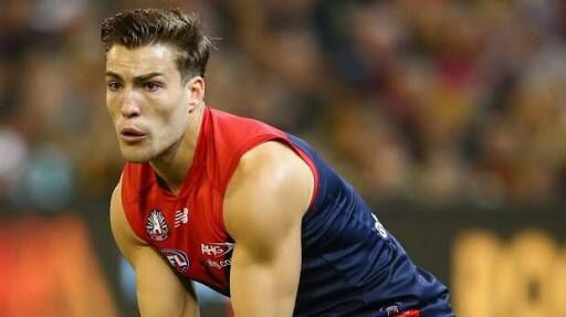 Jack Viney searching for someone in the ANZAC day eve clash against Richmond round 5 2016