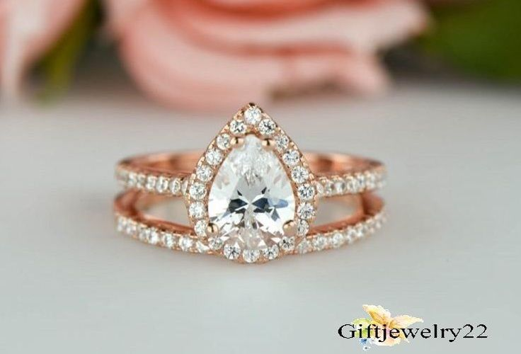 14k Rose Gold 1.42 CT Pear Cut D/VVS1 Diamond Bridal Wedding Engagement Ring Set #giftjewelry22