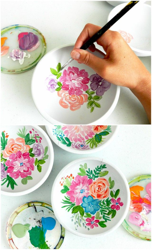 Painted Floral Wooden Bowls Pottery Painting Designs Floral Painting Pottery Painting