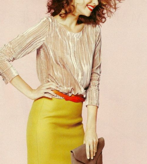 I need this mustard skirt. Gorgeous. #jcrew: Colors Combos, Fashion, J Crew, Yellow Skirts, Style Pinboard, Pencil Skirts, Jcrew, Work Outfits, Mustard Yellow