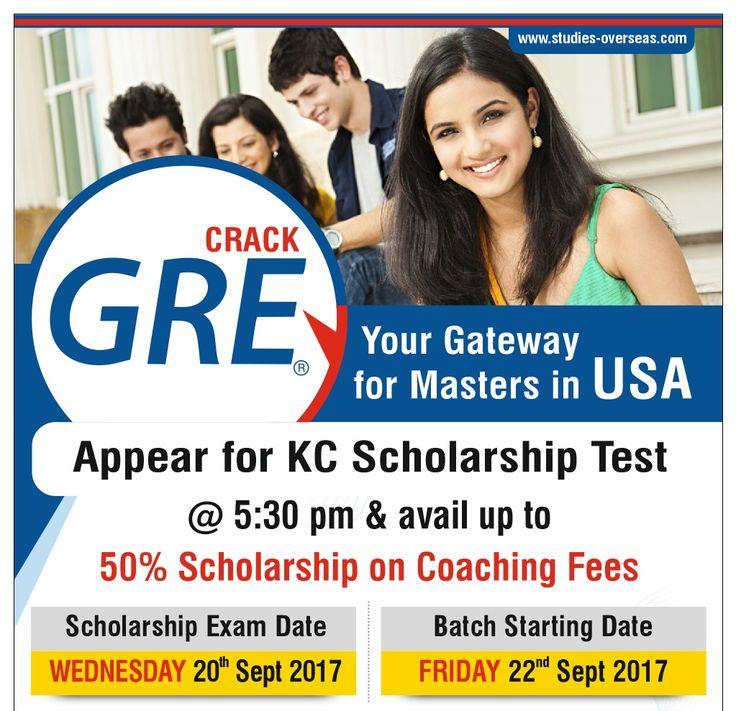 Appear in KC GRE Scholarship Test on 20th Sept 2017 at 5.30 pm Get Upto 50% Scholarship on GRE Coaching Fees  Regular Batch starting from 22nd Sept 2017  Register Here: https://lnkd.in/fKce9CB