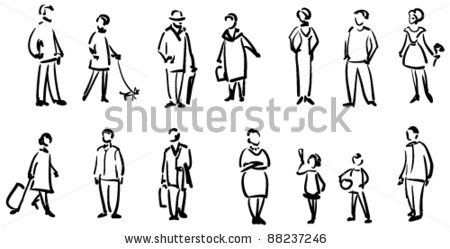 People sketch - stock vector