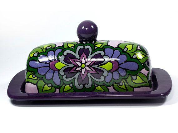 "Lavender, Dark Purple & Green Talavera Style Butter Dish -- ""Tropical Flower"""