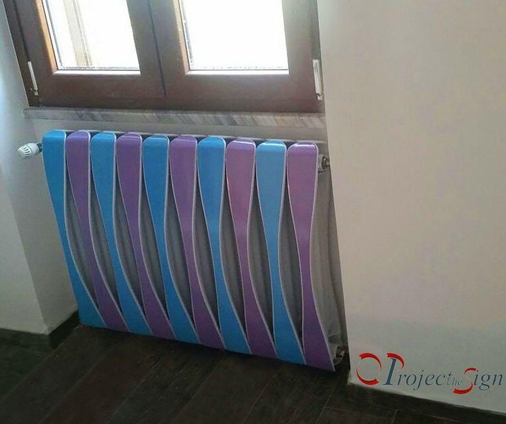 Calorifero d'arredo personalizzato. #celeste #lilla #personalizzato #radiatore #design
