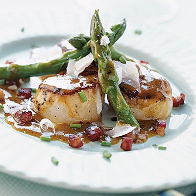 Pan-seared Scallops with Asparagus and Pancetta - 26 Scallop Recipes - Coastal Living