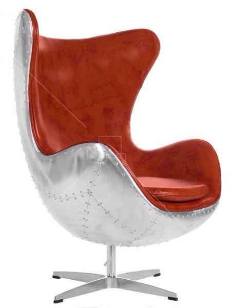 Spitfire AJ Egg Chair Tan leather and Aluminium Shell www.sacarello.gi