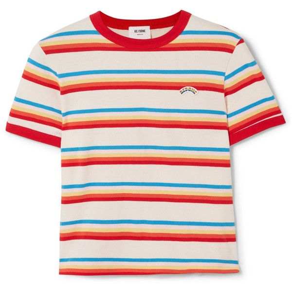 Re Done Seventies Striped Cotton Jersey T Shirt 150 Liked On Polyvore Featuring Tops T Shirts Pi Pink Striped Shirt Red Striped Shirt Vintage Tee Shirts