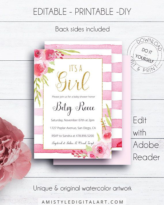 Editable Glitter Baby Shower Invitation, with watercolor striped background and roses and gold glitter border - for the lovers of the classic and romantic styles.This adorable baby shower invitation listing is for an instant download EDITABLE PDF so you can download it right away, DIY edit and print it at home or at your local copy shop by Amistyle Digital Art on Etsy