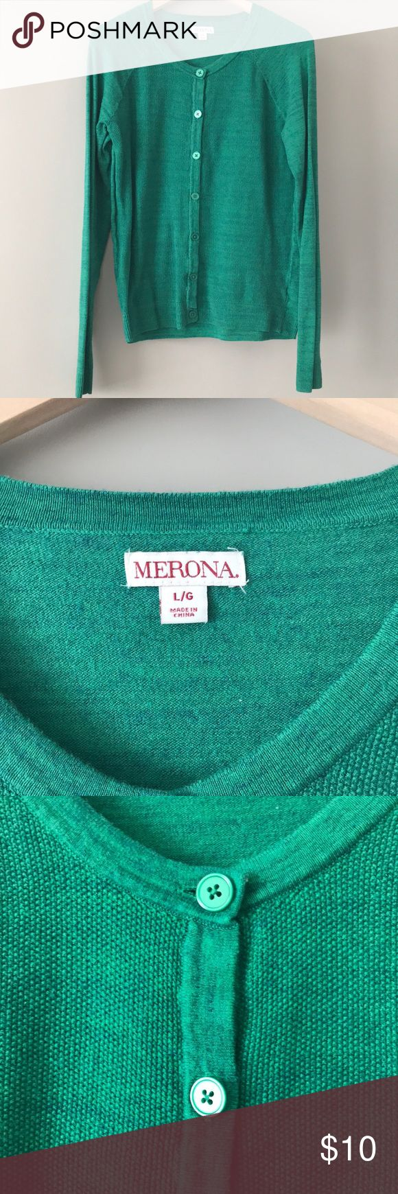 Green Cardigan Channel your inner Mr. Rogers with this cute green cardigan from Target. Very soft. Beautiful green/blue color. Merona Sweaters Cardigans