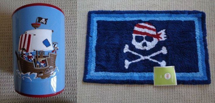 circo pirate bath mat pirate bathroom waste basket trash can bath rug mat ship 10604