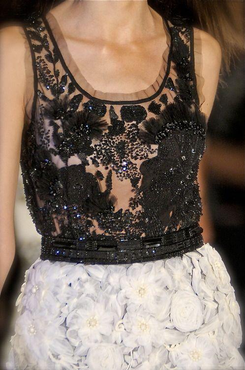 Beautiful contrast of light  dark - dreamy soft white florals and black beaded appliqué; fashion details // Naeem Khan
