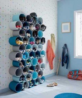 Rangement pour chaussures a fabriquer avec tubes PVC peints