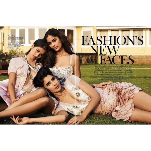 Ashika Pratt, Jessica Clark Alyssah Ali in Vogue India March 2012 by... ❤ liked on Polyvore