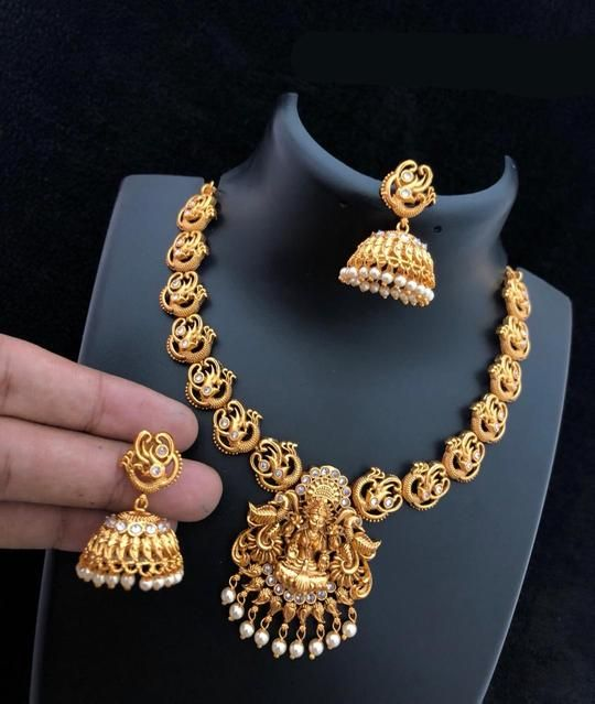 Laxmi Goddess Matte Finish Temple Necklace in 2019 | padma | Gold
