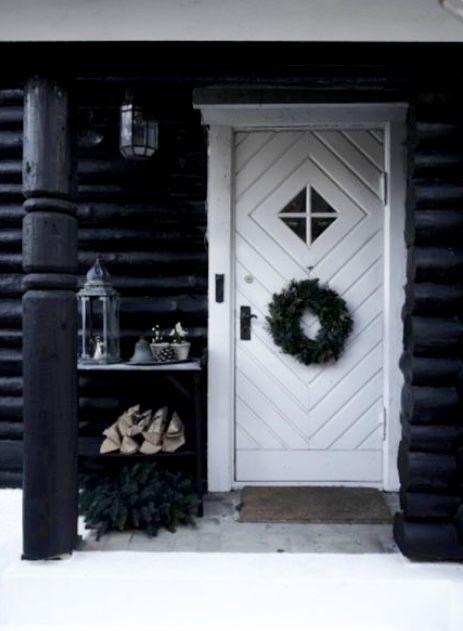 winter front door decor in black