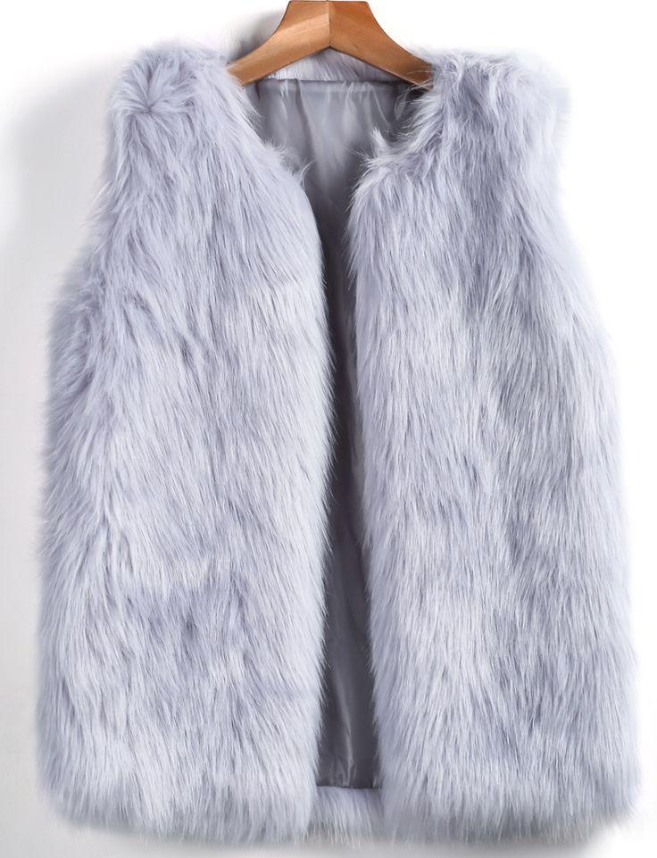 Grey Sleeveless Fox Fur Vest 38.33