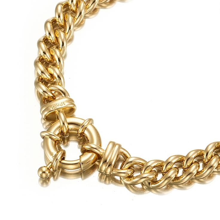 18ct Yellow Gold Layered Curb Bracelet with Bolt Clasp   Allure Gold