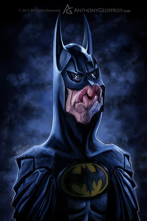 Incríveis caricaturas das versões do cinema de Batman. #Cinema #Batman #Caricatura