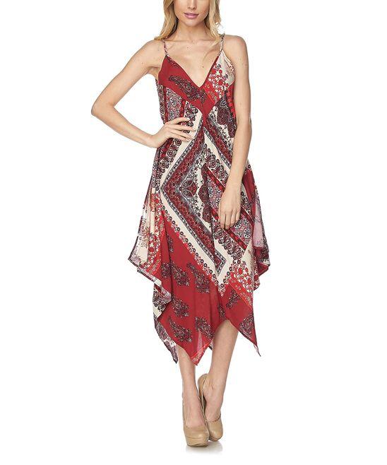 Red Ornate Handkerchief Dress