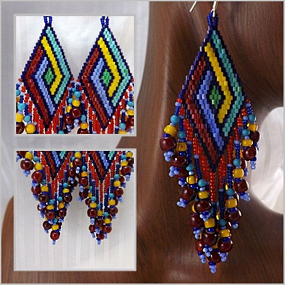 Seed Bead Earrings 3 1/8 inch 8cm Drops Long Fringe by BeadDweeb, $45.00