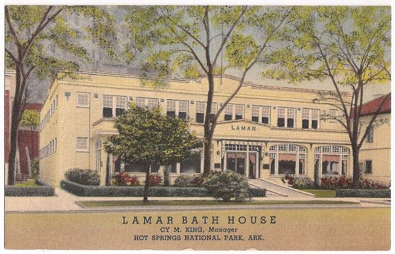 Lamar Bath House, Hot Springs National Park, Arkansas, vintage souvenir postcard 1955 postmark