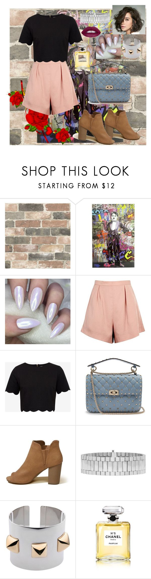 """""""Untitled #60"""" by thebad-thing ❤ liked on Polyvore featuring Wall Pops!, Finders Keepers, Ted Baker, Valentino, Hollister Co., AMBUSH, Carla G., Chanel and L.A. Girl"""