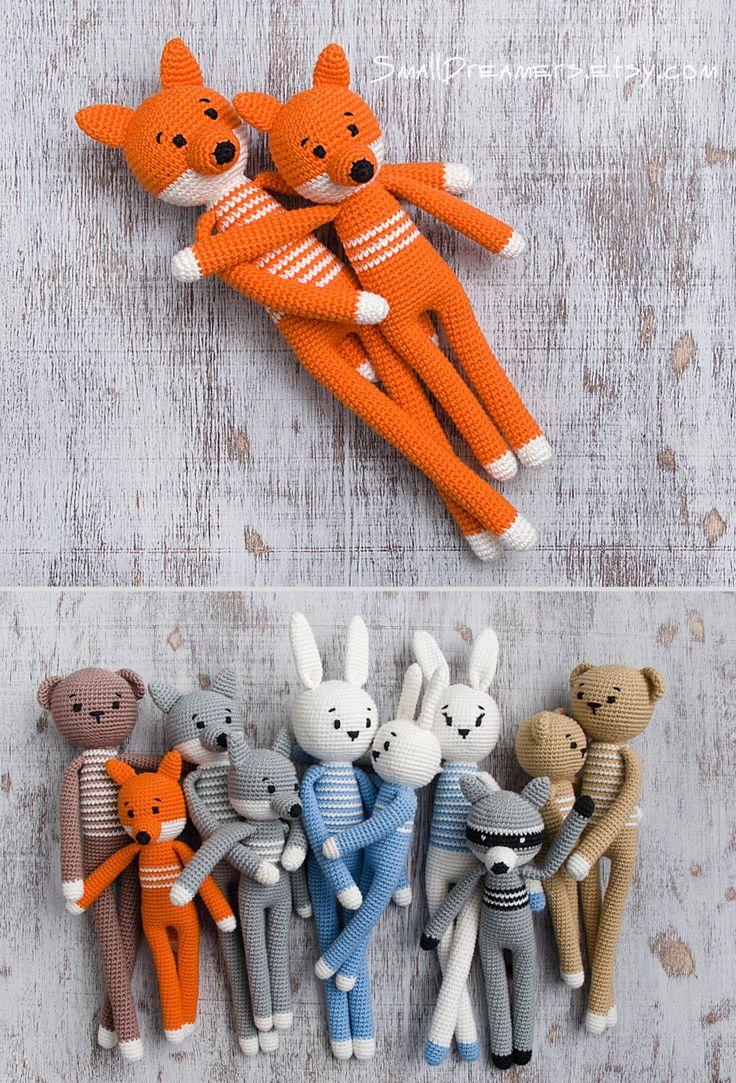 Crochet Fox Toy Woodland animal Soft cotton toy for kids Plush stuffed animal Baby gift Newborn gift Birthday gift Amigurumi Mama baby toys by SmallDreamers on Etsy https://www.etsy.com/listing/268085038/crochet-fox-toy-woodland-animal-soft