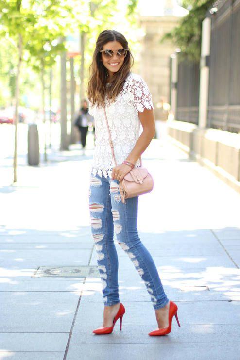 Suiteblanco Denim Skinny Shredded Jeans