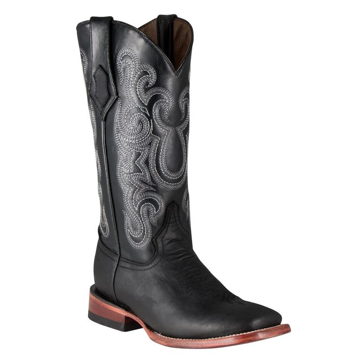 """This classic black Western cowgirl boot is handcrafted from genuine full grain leather and has white contrast stitching on its 12"""" shaft. The roomy, square toe and orthopedic cushioned foot bed provides the comfort needed for all day wear in and out of the saddle.<br /> <br /> Features include: <ul> <li> Handcrafted from full grain leather for long lasting wear</li> <li> Contrast stitching on the shaft with leather pull straps<&#x..."""