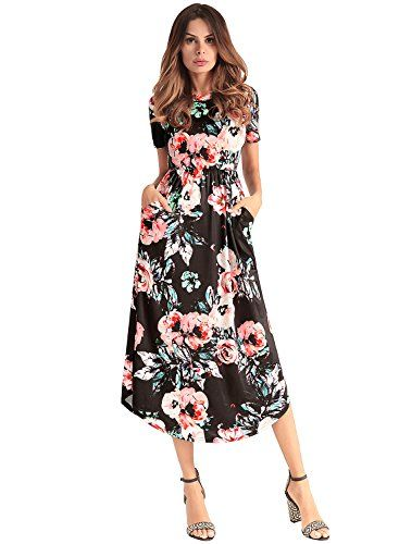 75be8af63fa Femme Robe à O-Cou Manche Courte Rayures Florale Robe de Plage Maxi Midi  Robe