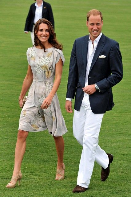 Duchess of Cambridge July 9 2011 She arrived at the Santa Barbara Polo Club - where the Prince took part in a charity polo match - wearing a hand-painted silk dress by Jenny Packham.