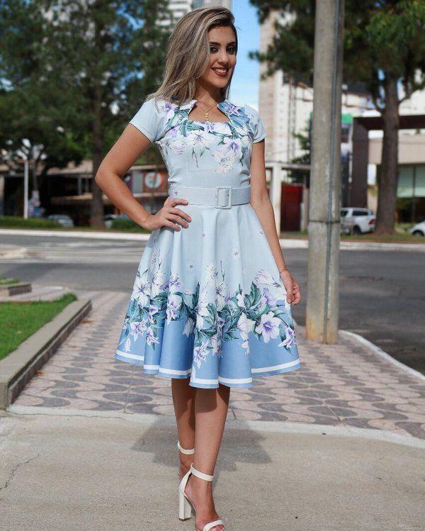 672888fea4d60e Vestido Midi Azul Floral com Cinto Moda Evangélica em 2019 | Fashion ...