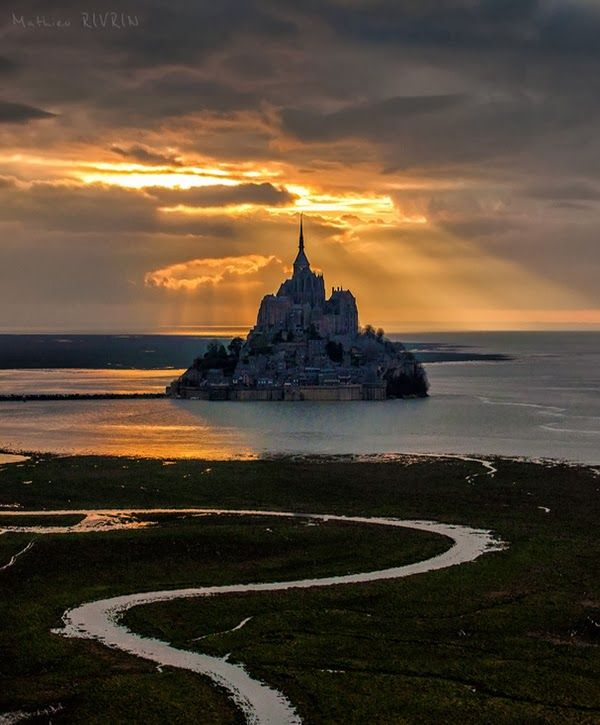 Golden Sunset Over Mont Saint Michel Island, Normandy France