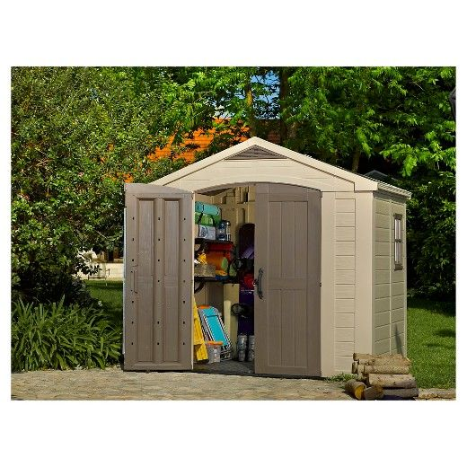 The Factor 6x3 resin shed from Keter Plastic provides the extra space you require at a price you can afford. The Factor 6x3 shed is easy to assemble and lasts far longer than wooden sheds because it won't rot, crack, or warp under the elements. The large double door opening makes storing your lawn mower an easy task while still having room for your other things. With a fixed window, skylight and extended roof line, this shed won't feel claustrophobic or dark and the air vents near the...