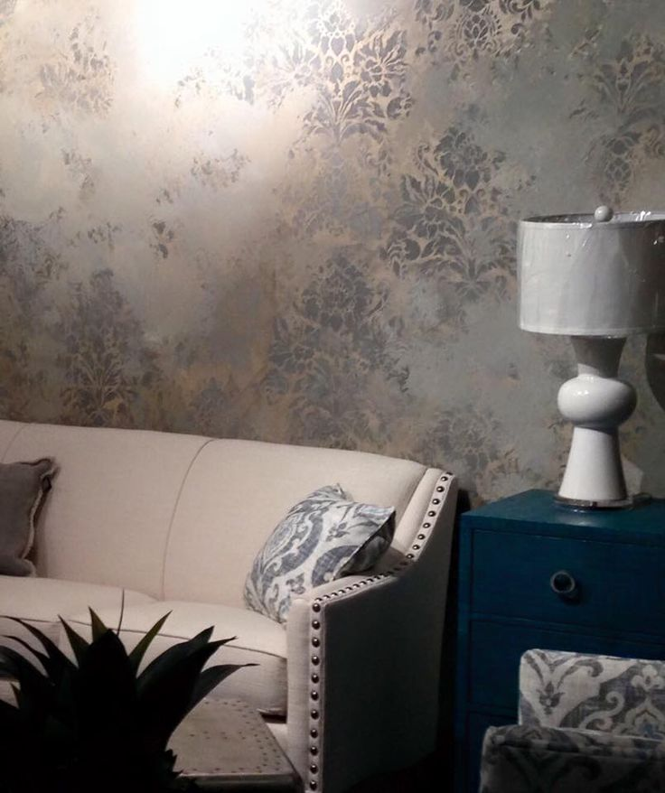 Urban 57 stenciled & plastered walls by decorative painter Shauna Oeberst Gallagher. Modern Masters Metallic Plaster in Champagne, Shimmered Moon, Ice Blue, and Tungsten.