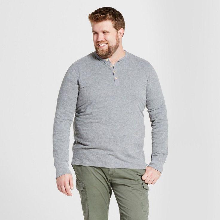 Men's Big & Tall Standard Fit Long Sleeve Micro-Waffle Henley Shirt - Goodfellow & Co Heather Gray 2XB