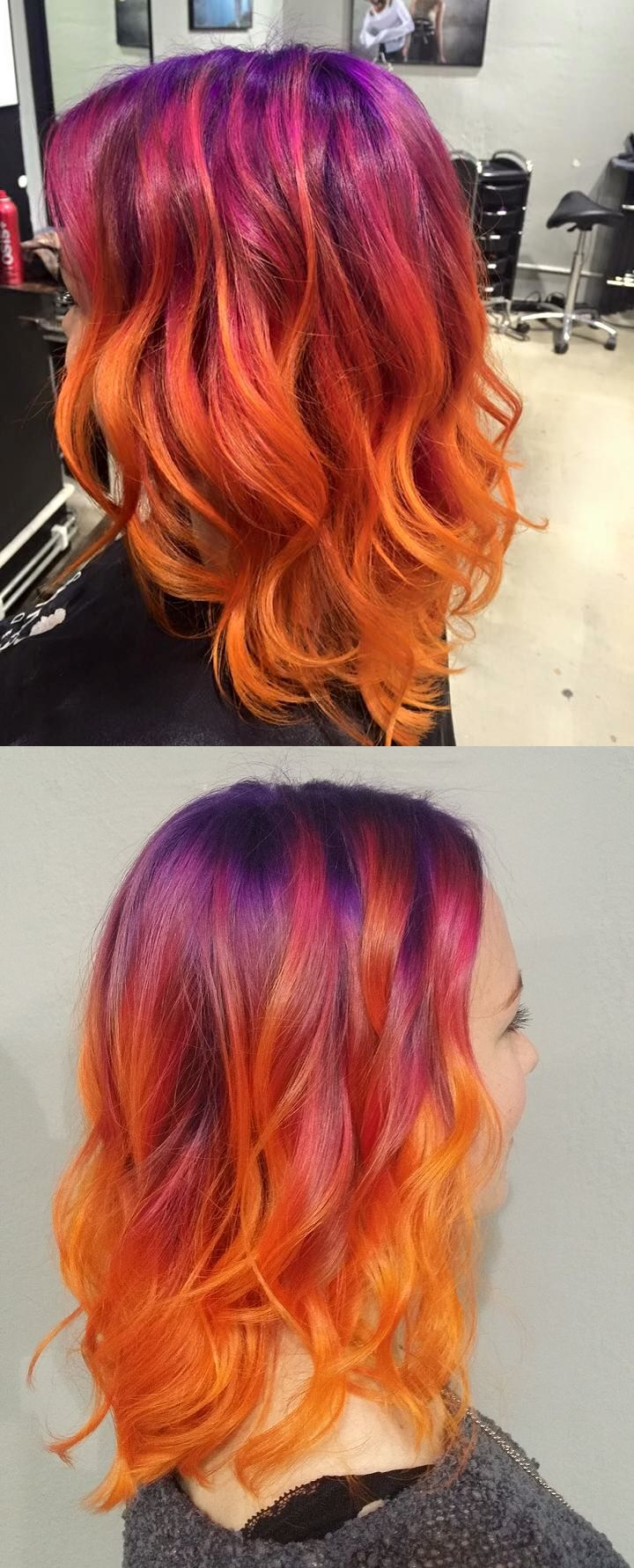 Sunset hair: Violet roots, hot pink and orange. Colour and cut by Vladimir Eroshenko at Cybtekk hair salon.