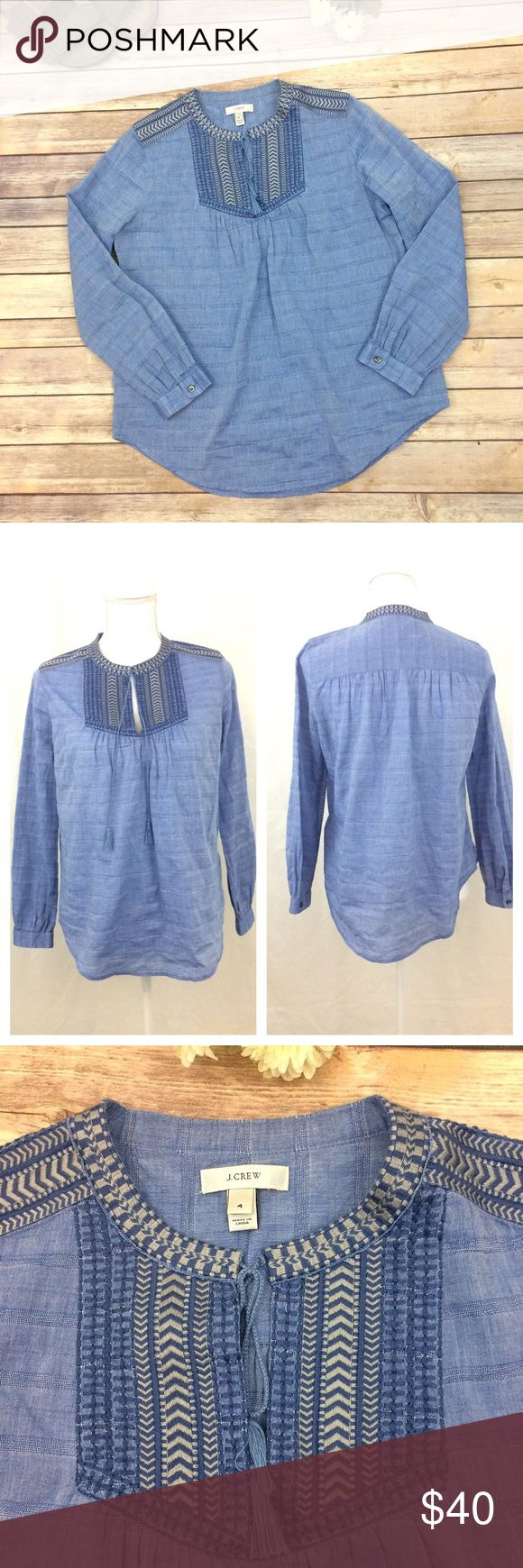 J CREW Blue Smock Style Top Size 4 J Crew light blue cotton smock style Top with embroidered yoke and ties with tassels at the neckline.    99% Cotton and 1% Spandex.  Light blue in excellent condition. Smoke free home. Last picture shows Measurements. Thanks for looking 💐 J. Crew Tops