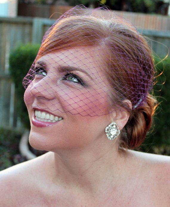 Bridal Purple Russian Netting Blusher Birdcage by BelledeBenoir, $20.00