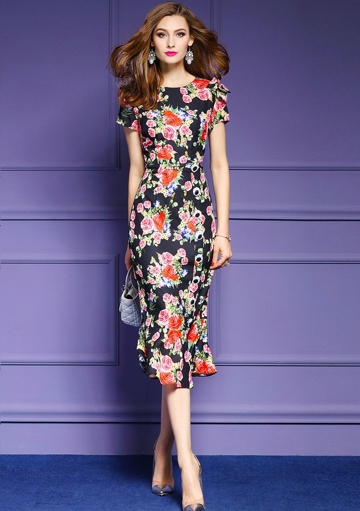 Italy Style Romantic rose printing fishtail dress 2017 summer Runway high-waist floral high-waist long dress woman party dress