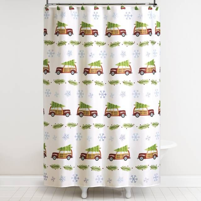 Retro Cars Shower Curtain and Hook Set