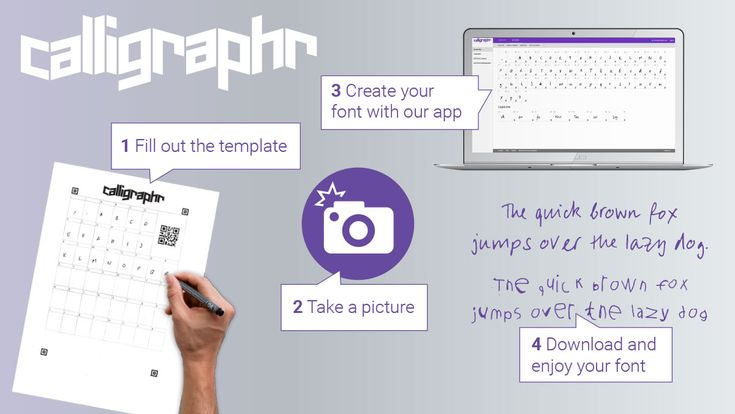 Create a font from your own handwriting or calligraphy. www.calligraphr.com
