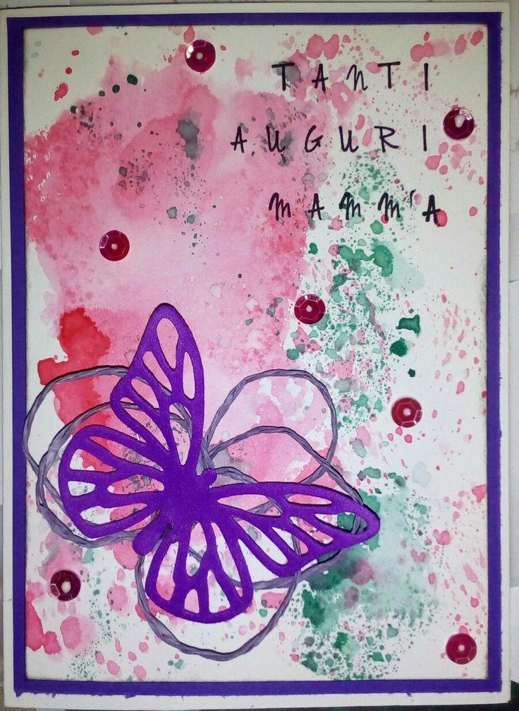 Card per il compleanno di mamma..TANTI AUGURI TERRY!! (Distress, pailette, filo, fommy.. Idea presa da Pinterest...)