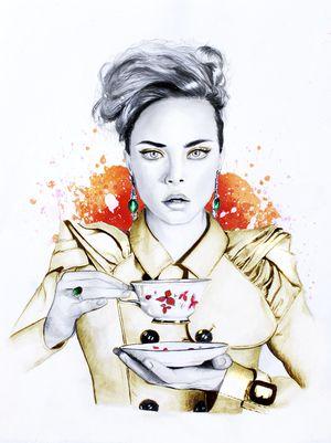#illustration #fashionillustration #fashionportrait #portraitdrawing #illustrator #fashionillustrator #art #fashionart #fashionblogger #tea #teacup #caradelevingne #morning