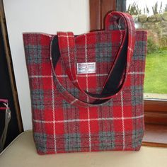 Large padded Harris Tweed tote in red and grey with waterproof lining £80.00