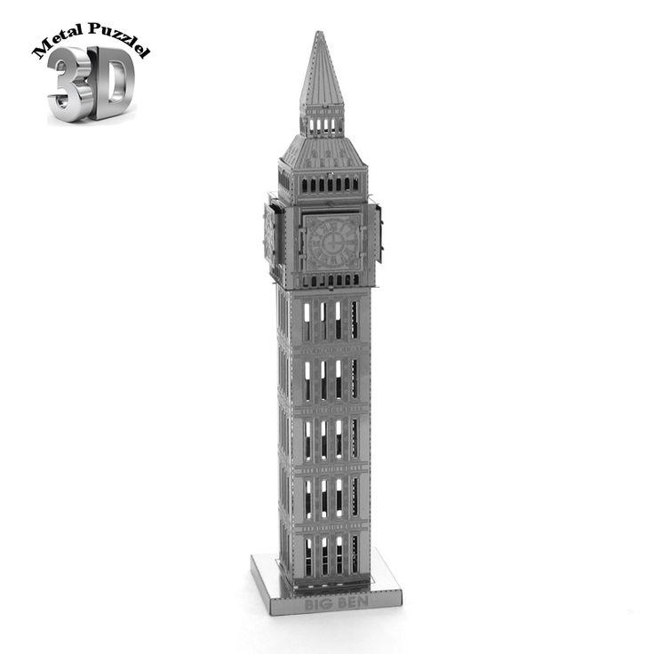 Metal Puzzles Miniature 3D Model DIY Jigsaws Building Model Silver  Decoration Gift Educational Toys Big Ben
