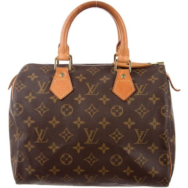 Pre-owned Louis Vuitton Monogram Speedy 25 ($495) ❤ liked on Polyvore featuring bags, brown, pre owned bags, zipper bag, coated canvas bags, zip bag and brown bag