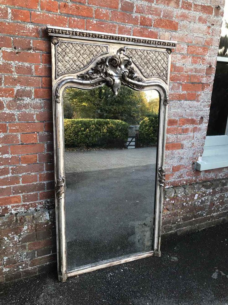 An Exquisite Large Antique 19th Century French carved wood & gesso highly decorative original distressed Mirror. (ref. 2469.