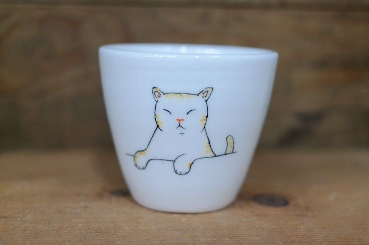 Hand painted animal cup - Cute cup -Cat cup- unique cup - Cat small cup - cute cat by CreativeStoneCera on Etsy